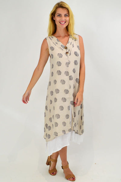 Sleeveless Oatmeal Dots Overlay Tunic Dress - I Love Tunics
