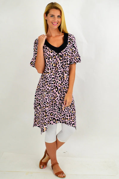 Pink Cheetah Tunic Dress | I Love Tunics | Tunic Tops | Tunic | Tunic Dresses  | womens clothing online
