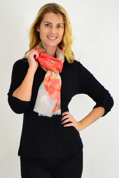 Orange Small Floral Print Scarf - I Love Tunics