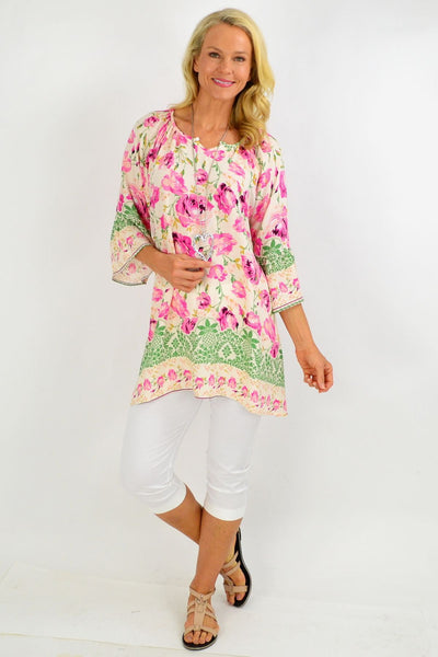 Pink Rose Floral Light & Pretty Tunic Top
