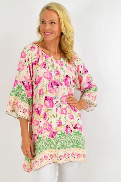 Pink Rose Floral Light & Pretty Tunic Top | I Love Tunics | Tunic Tops | Tunic | Tunic Dresses  | womens clothing online
