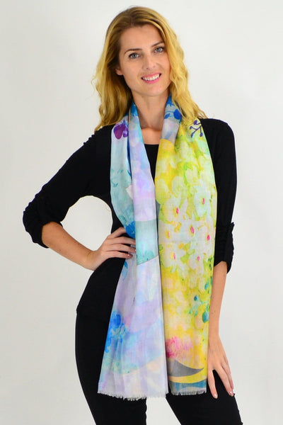 Yellow Small Floral Print Scarf