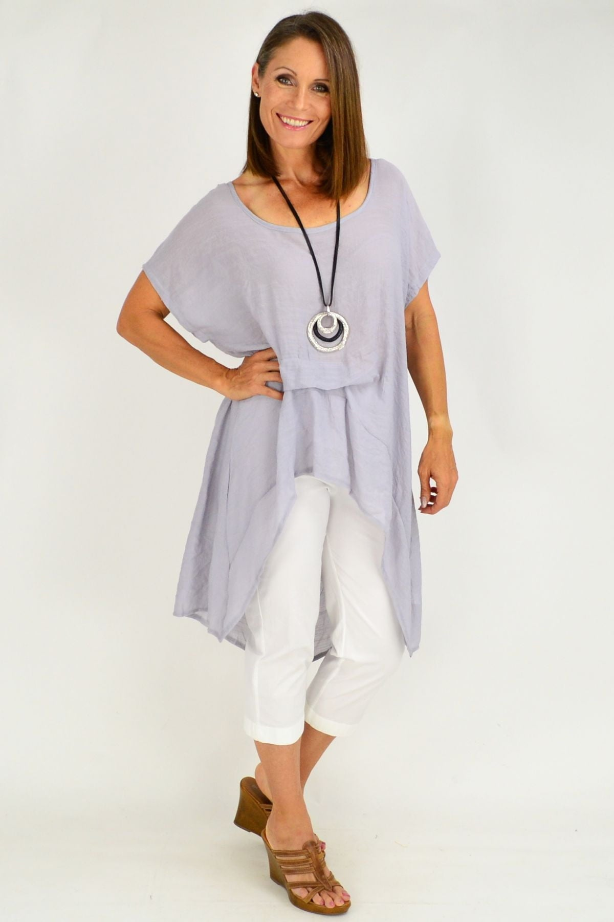 grey loose cotton tunic