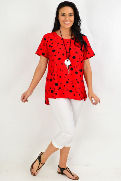 Red Black Spot Tunic Top