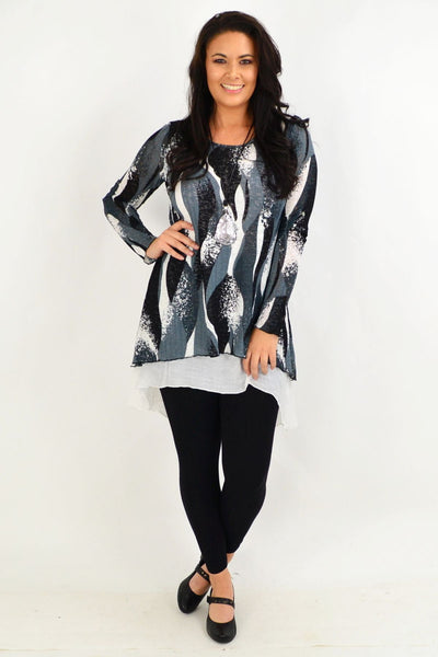 Grey Ruby Swirl Tunic Top