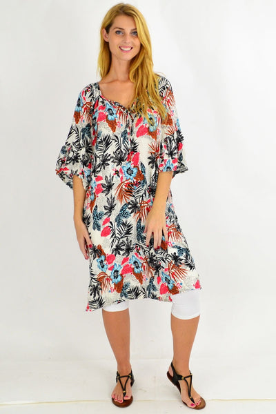 Amy Tropical Crinkle Tie Tunic Dress