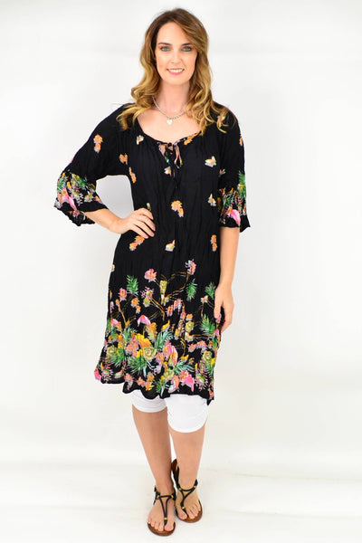 Black Butterfly Flower Crinkle Tie Tunic Dress