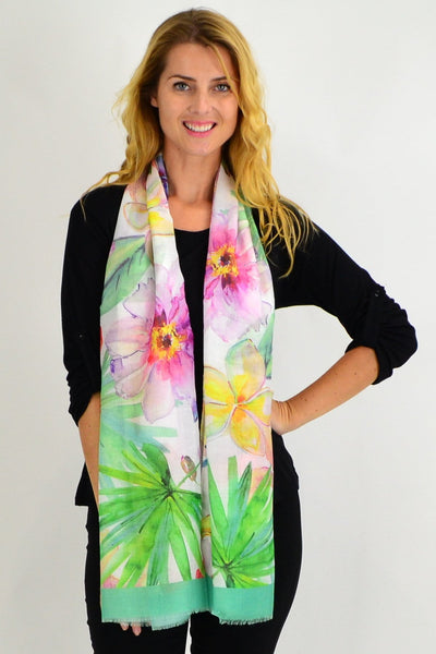 Green Flower Garden Scarf