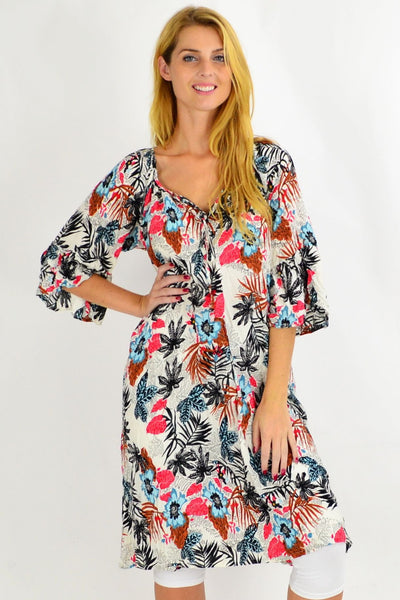 Amy Tropical Crinkle Tie Tunic Dress | I Love Tunics | Tunic Tops | Tunic Dresses | Women's Tops | Plus Size Australia | Mature Fashion