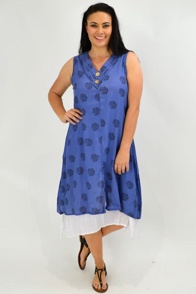 Sleeveless Denim Blue Dots Overlay Tunic Dress | I Love Tunics | Tunic Tops | Tunic | Tunic Dresses  | womens clothing online
