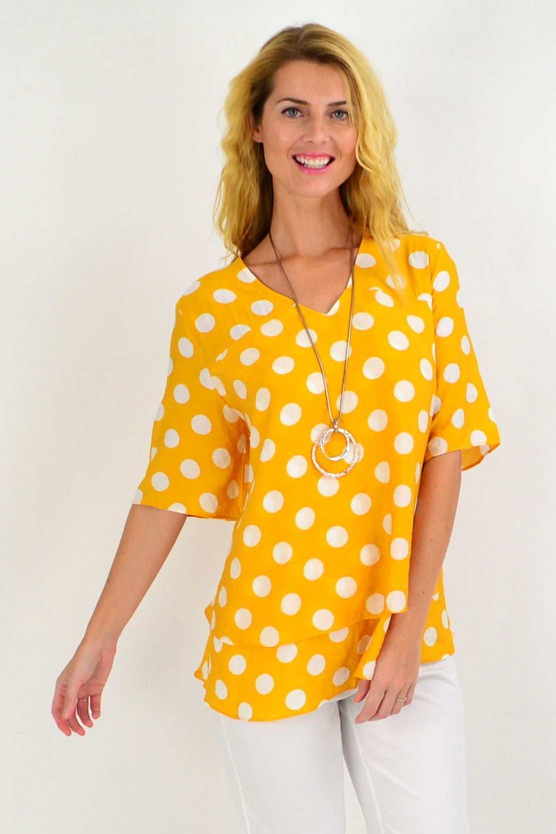 Mustard White Spot Tunic Top | I Love Tunics | Tunic Tops | Tunic | Tunic Dresses  | womens clothing online