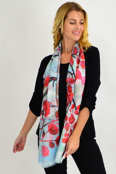 Red Leaf Print Scarf