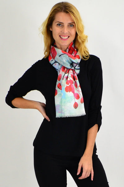 Red Leaf Print Scarf - I Love Tunics