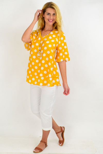 Mustard White Spot Tunic Top