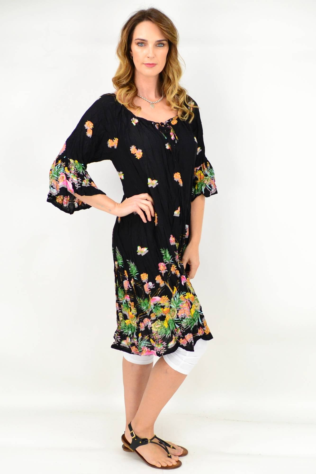 Black Butterfly Flower Crinkle Tie Tunic Dress | I Love Tunics | Tunic Tops | Tunic | Tunic Dresses  | womens clothing online
