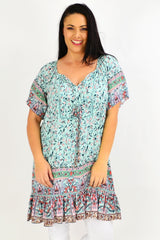 Pea Green Flower Graden Tunic Top | I Love Tunics | Tunic Tops | Tunic | Tunic Dresses  | womens clothing online