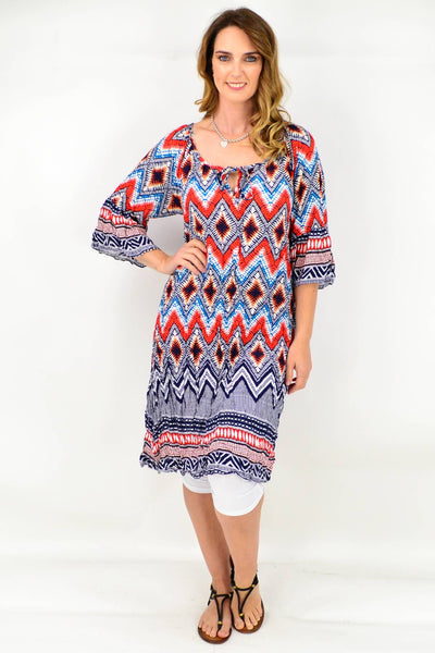 Orange Blue Tie Tunic Dress