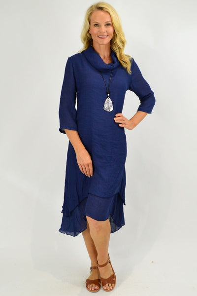 Navy Cowl Neck Tunic Dress