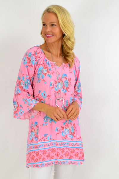 Pink Blue bouquet Light & Pretty Tunic Top | I Love Tunics | Tunic Tops | Tunic | Tunic Dresses  | womens clothing online
