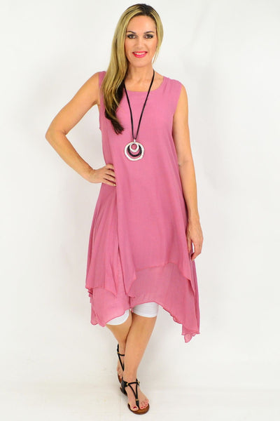 Dusty Pink Long Double Layered Linen Cotton Tunic Dress