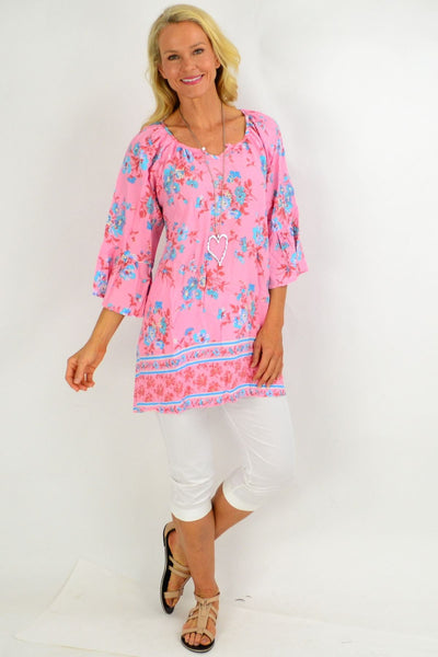 Pink Blue bouquet Light & Pretty Tunic Top
