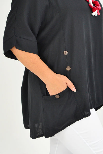 Black Coconut Button Sloping Sleeve Tunic Top - I Love Tunics