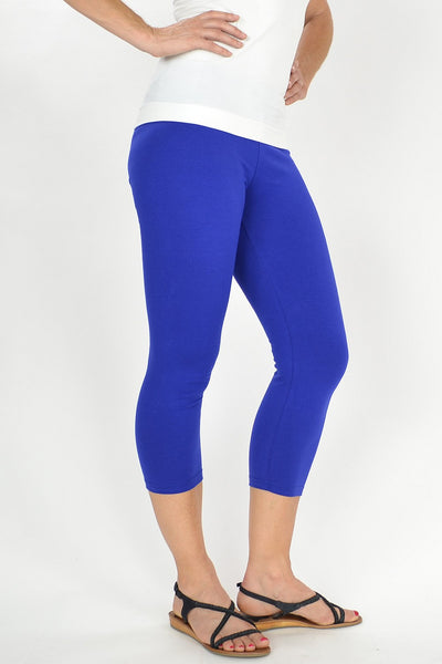 Cobalt Blue Cotton 3/4 leggings - at I Love Tunics @ www.ilovetunics.com = Number One! Tunics Destination