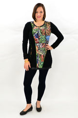 Model wearing David Jessie winter tunic. Available at ilovetunics.com