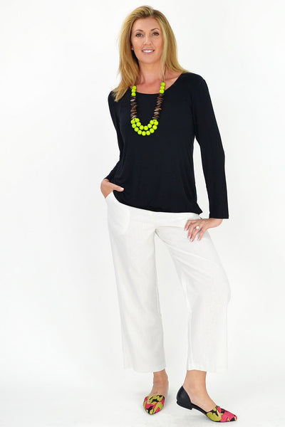 White Linen Cotton Pants - at I Love Tunics @ www.ilovetunics.com = Number One! Tunics Destination