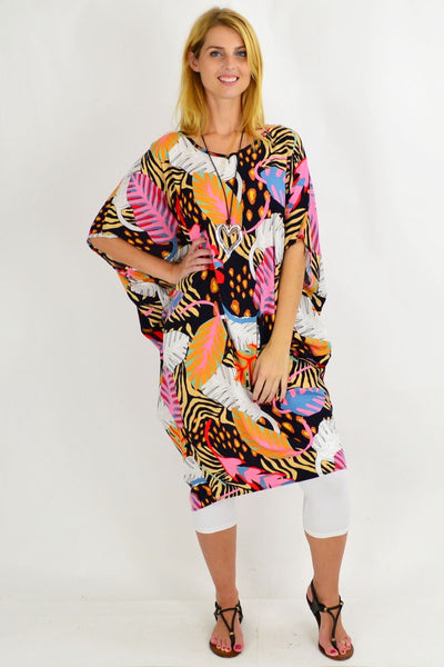 Paradise Palm Relaxed Cocoon Tunic Dress