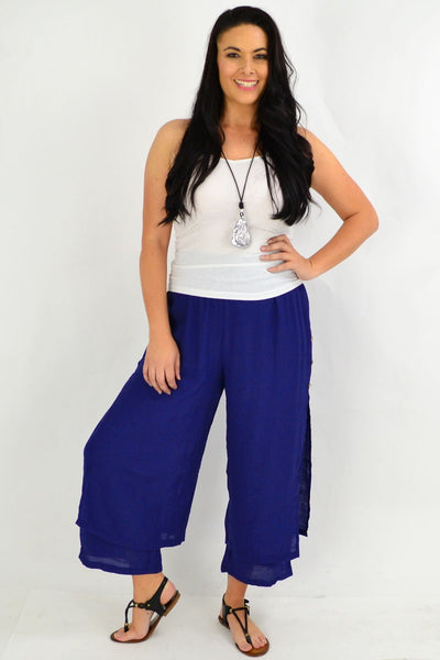 Blue Double Layer Pants | I Love Tunics | Tunic Tops | Tunic | Tunic Dresses  | womens clothing online