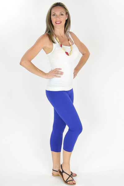 Cobalt Blue Cotton 3/4 leggings
