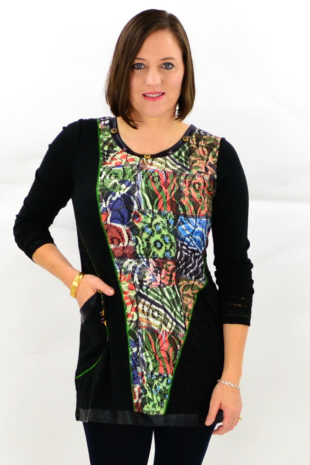 Model wearing David Jessie winter tunic top. Available at ilovetunics.com
