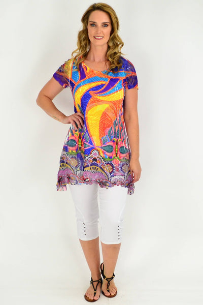Multicoloured Lace Trim Tunic Blouse