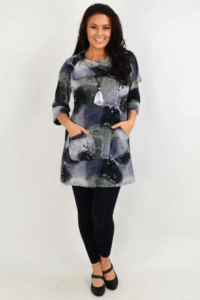Grey Oversized Collar Tunic Top