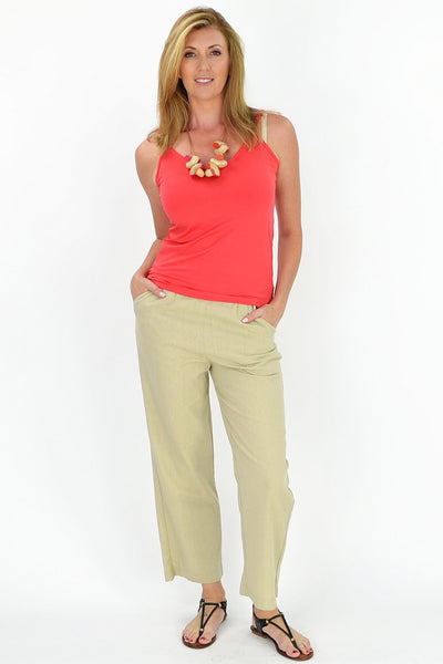 Taupe Linen Cotton Pants - at I Love Tunics @ www.ilovetunics.com = Number One! Tunics Destination