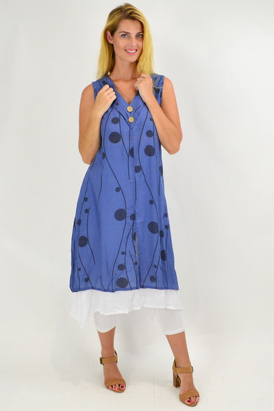 Sleeveless Blue Debs Dots Overlay Tunic Dress