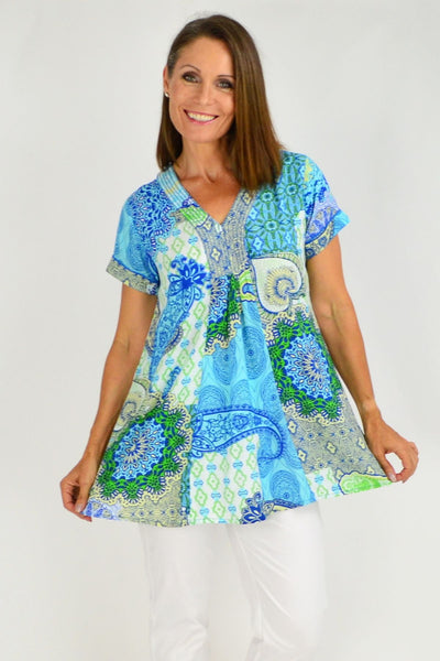 Genoa Blue Green Floral V Neck Orientique Tunic Top | I Love Tunics | Tunic Tops | Tunic | Tunic Dresses  | womens clothing online