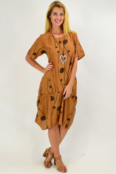 Caramel Dots Bubble Tunic Dress - I Love Tunics