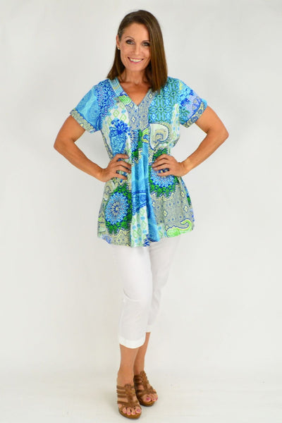 Genoa Blue Green Floral V Neck Orientique Tunic Top