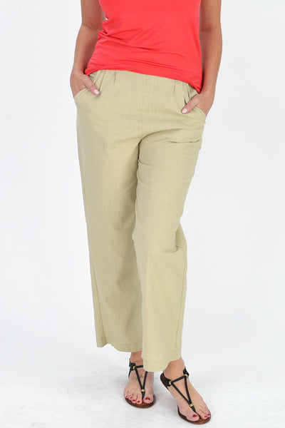Taupe Linen Cotton Pants