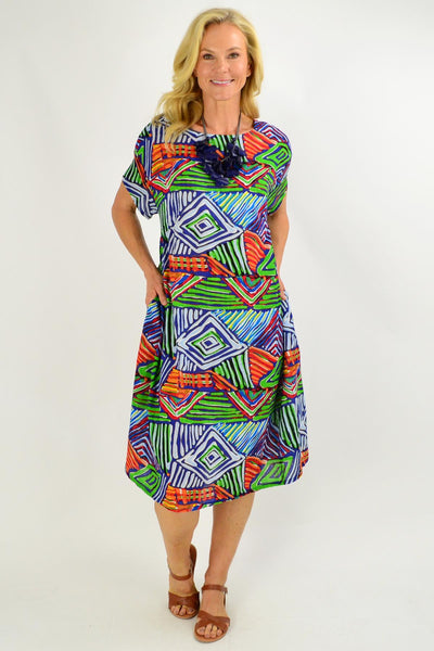 Navy Multicolour Shift Tunic Dress - I Love Tunics