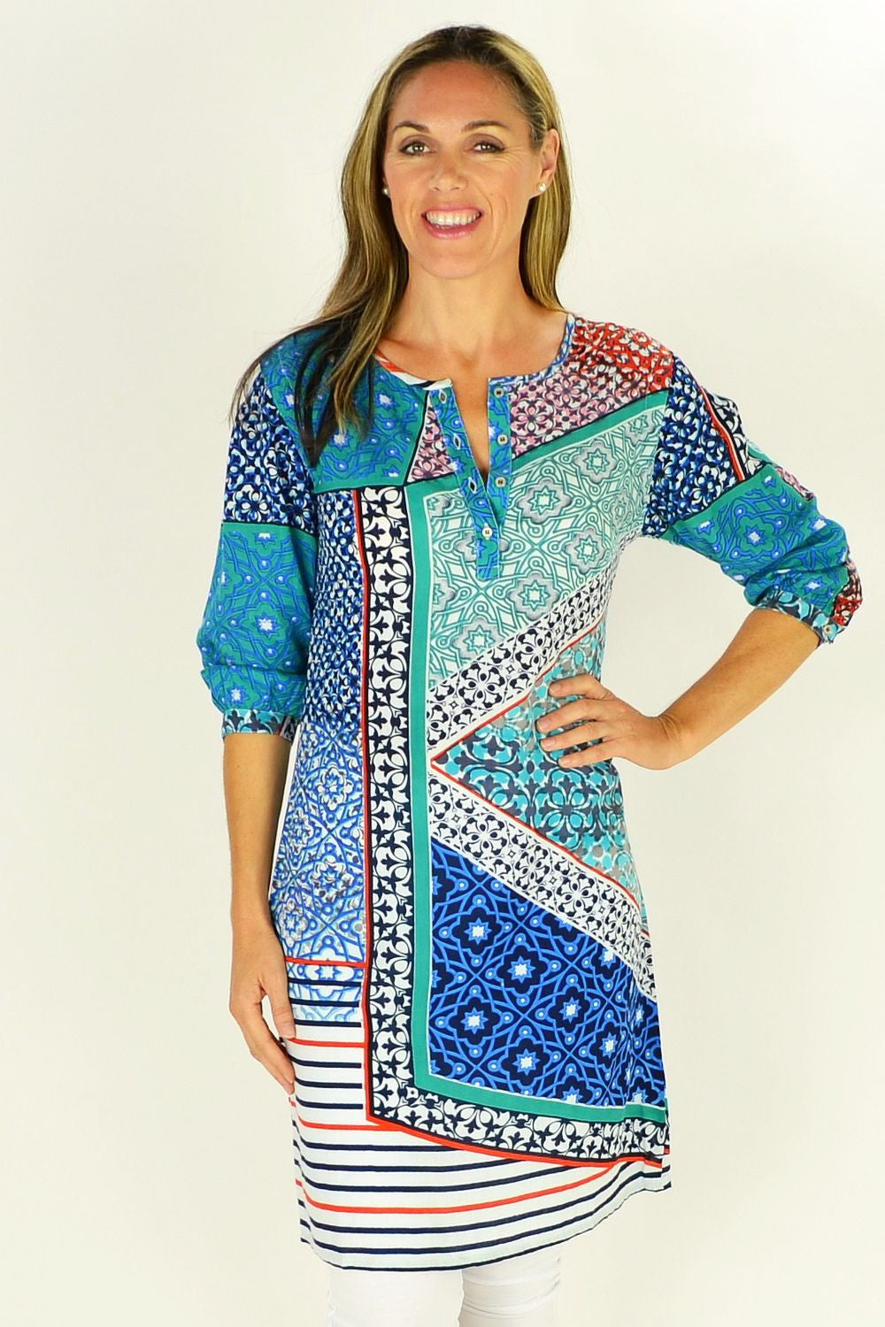 Picasso Tunic Dress by Orientique | I Love Tunics | Tunic Tops | Tunic Dresses | Women's Tops | Plus Size Australia | Mature Fashion