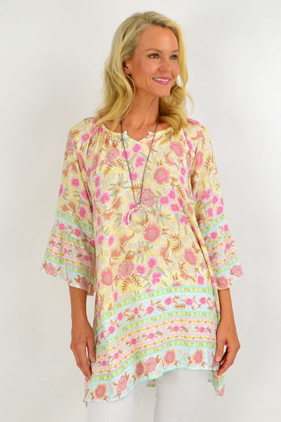 Yellow Floral Light & Pretty Tunic Top