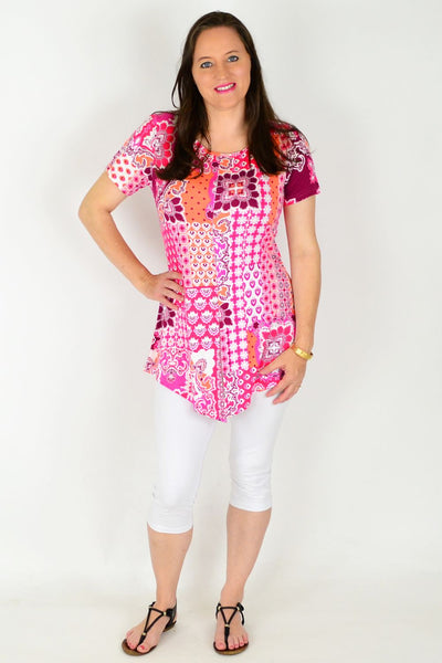 Pink Mosaic Tunic Top