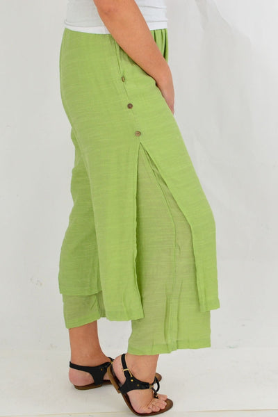 Green Double Layer Pants