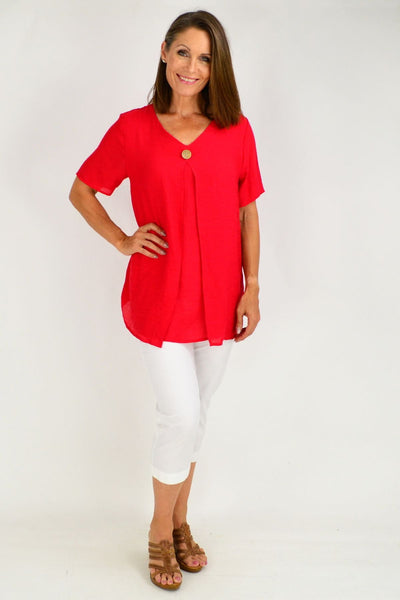 Red Julie Short Sleeve Tunic Blouse
