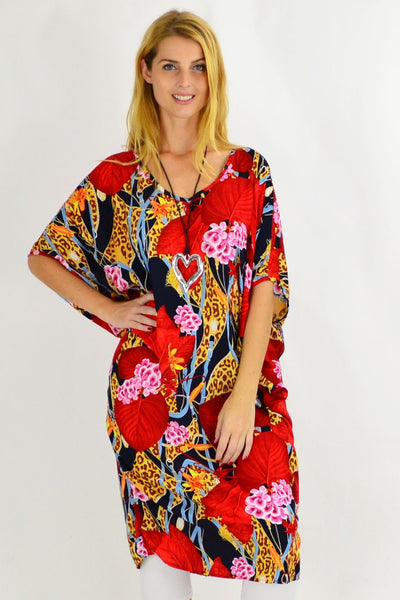 Animal Print Relaxed Cocoon Tunic Dress | I Love Tunics | Tunic Tops | Tunic Dresses | Women's Tops | Plus Size Australia | Mature Fashion
