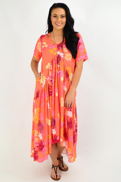 Apricot Floral Maxi Tunic Dress