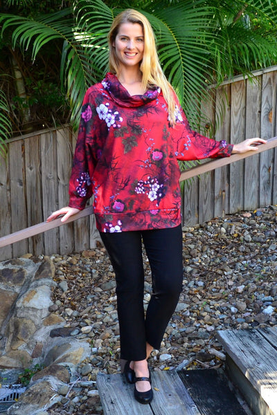 Red Cowl Neck Tunic Jumper